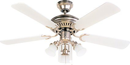 FJ- WORLD L42019 Beautiful white ceiling fan with 42 blades, 3 lights and free remote