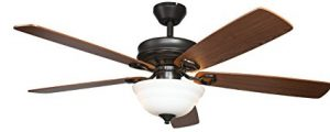 Hyperikon Indoor Ceiling Fan with Remote Control, 52-Inch Brown Ceiling Fan, Five Reversible Blades and Frosted Dome Light – Bulb