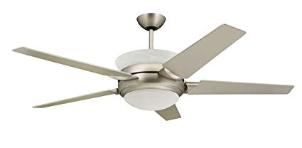 TroposAir Sunrise Modern Ceiling Fan in Satin Steel with Light and Up Light