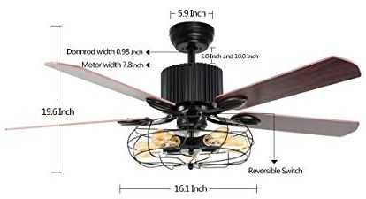 KALRI Industrial 52-Inch Ceiling Fan