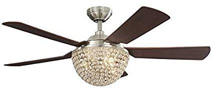 Parklake 52-in Brushed Nickel Crystal Ceiling Fan with Light Kit and Remote