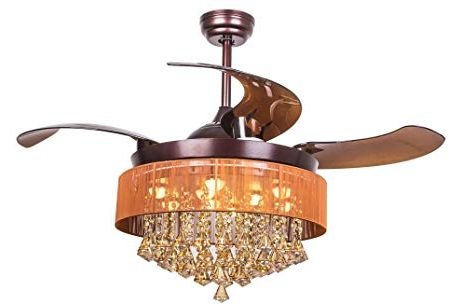Parrot Uncle Crystal Ceiling Fans with Lights 42 Modern Brown Ceiling Fan with Retractable Blades
