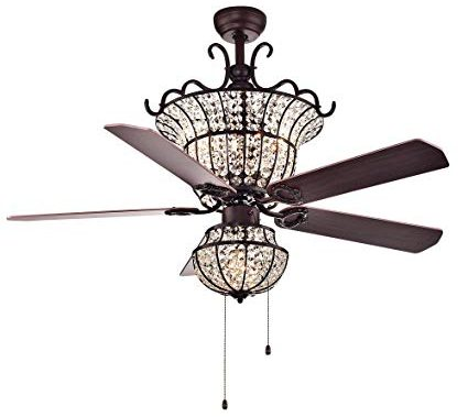 Warehouse of Tiffany CFL-8154BR Charla 4-Light Crystal Chandelier Ceiling Fan combo