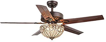 Whse of Tiffany CFL-8111 Catalina 3-Light Bronze-Finished 5-Blade 48 luxury Ceiling Fan with light