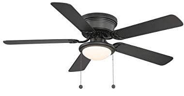 Hampton Bay Hugger 52 in. Black Ceiling Fan - Black - Reversible Blades